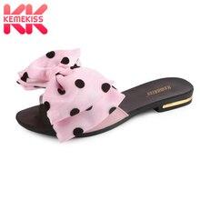 KemeKiss/женские сандалии на плоской подошве; тапочки с галстуком-бабочкой; сандалии на плоской подошве; Летняя обувь с открытым носком; женские пикантные вечерние пляжные туфли; Размеры 35-39