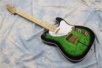 Custom Shop cane tele signature chitarra elettrica nero cerchio verde onda di acqua impiallacciatura di acero fiamma chitarra reale immagine, alta qualità