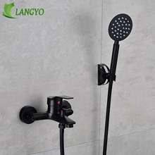 цена на LANGYO Solid Brass Dual Holders Bathtub Faucet Balck Wall Mounted Bathroom Mixer Tap Hot and cold water faucet Shower Set