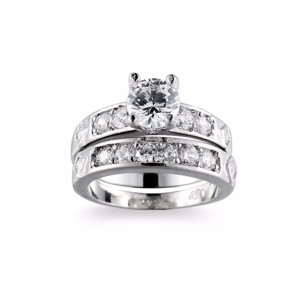 SexeMara 2018 Newest Design Infinity Rings for Women with 2pcs Micro Paved CZ Crystal Fashion Couple Silver Color Rings