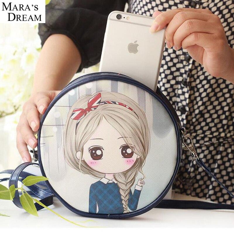 Women Bag Cute Cartoon PU Leather Shoulder Bags Circular Cross Body Messenger Anime Character Handbags Bolsa Feminina Coin Bag
