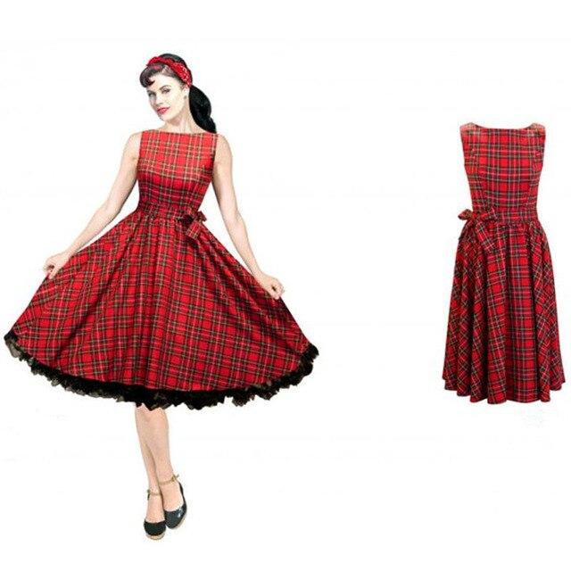 Vintage 50s Dresses Hepburn Red Plaid Slit Neckline Dress Expansion Spring Autumn Vestidos