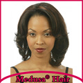 Medusa hair products: African american Synthetic pastel wigs for women Medium length wavy black Afro lace front wig SW0080