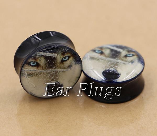 1 pair plugs acrylic snow wolf saddle ear plug gauges tunnel body piercing jewelry PSP0006