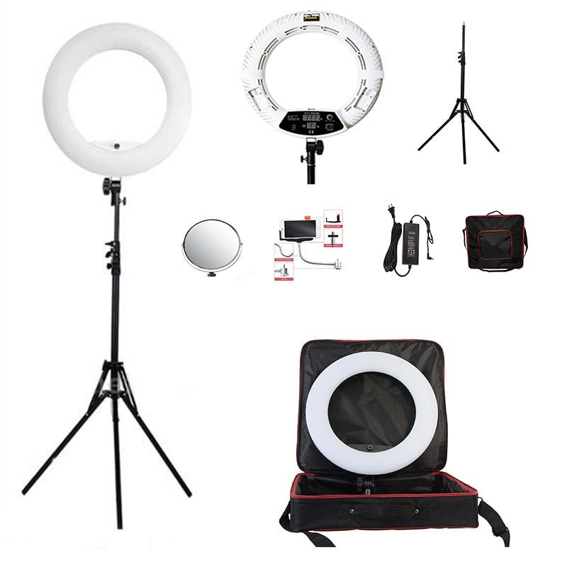 Yidoblo white FD 480II 18 LED Ring Light Kit 480 LED Warm Cold 2 color Adjustable
