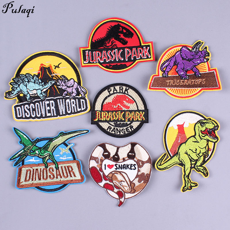 Pulaqi Jurassic World Patches Diy Clothing Embroidered Ironing Applications Patch Dinosaur Badge Stripes On Clothes H