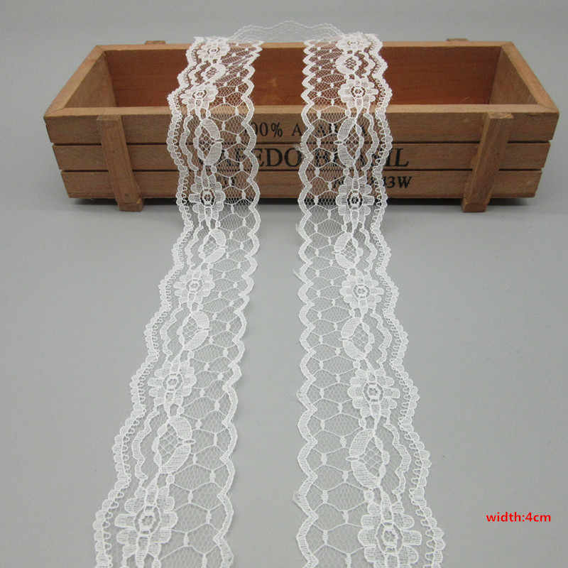 10 Yards Bianco Nastro di Pizzo Nastro di 40 MILLIMETRI di Larghezza Trim Artigianato FAI DA TE Ricamato Cavo di Rete Per La Decorazione di Cucito africano del merletto tessuto