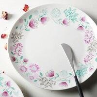 Geschirr Bone China Teller Auf verglast Floral Blume Gedruckt Runde Platten Steak Kuchen Weiß Schüssel Hohe Qualität Großhandel preis