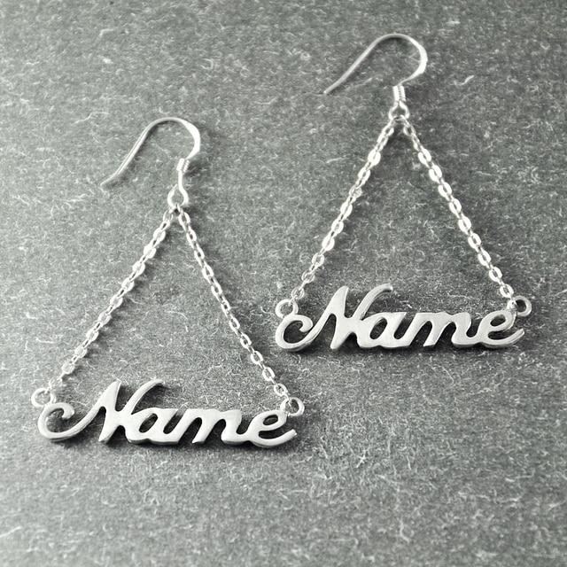 Custom Name  Earring, Silver Earring in Handmade, Personalized  Wedding Earring, Alison font   Unique Silver Earring
