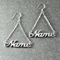 Nome personalizado Brinco, Brinco em prata Feito À Mão, personalizado Brinco de Casamento, Alison fonte Única de Prata Brinco