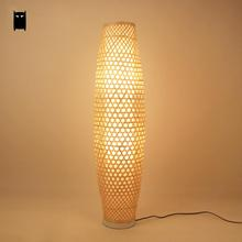 Bamboo Wicker Rattan Shade Vase Floor Lamp Fixture Rustic Asian Japanese  Nordic Art Light Abajur Luminaria