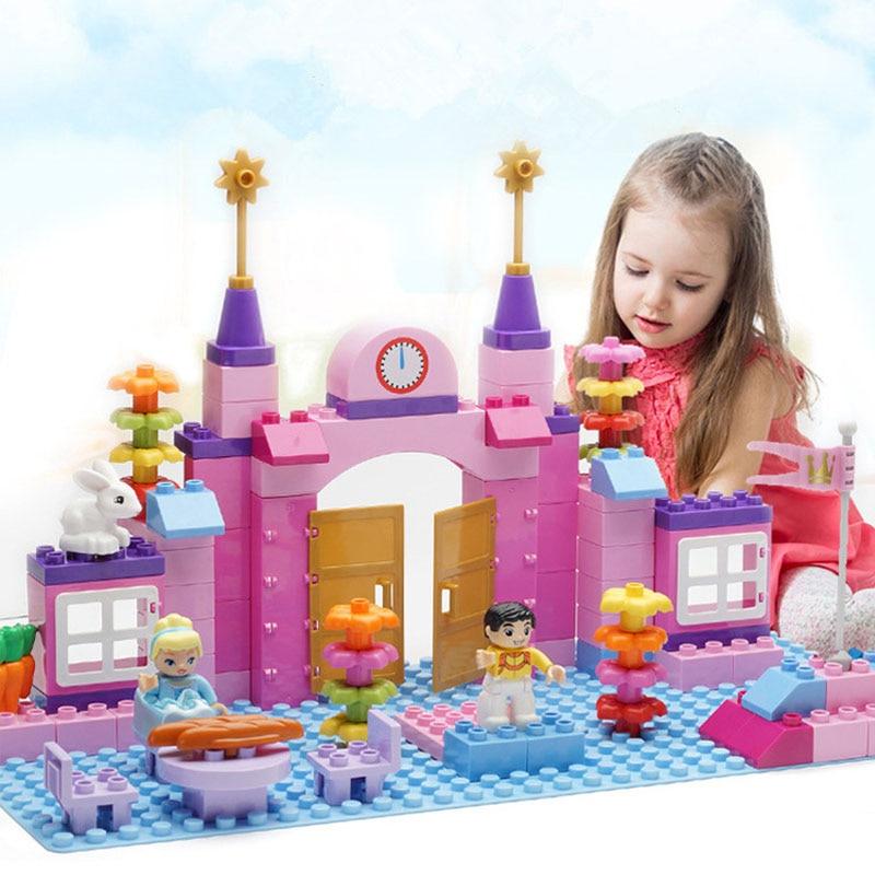 Pink Princess CastleBig Particle Building Blocks Castle Educational Toy For Children Compatible duplo slide