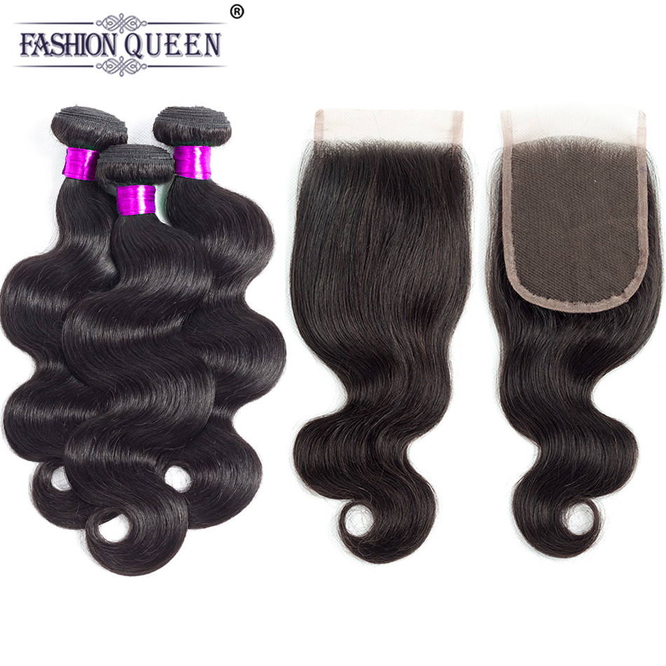 Fashion Queen Brazilian Body Wave Human Hair Bundles With Closure Gorgeous Wavy Remy Hair 3 Bundles with Lace Closure