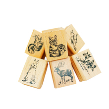 1pcs/lot cute animal series wooden rubber stamp DIY handmade diary album stamps notepad gifts for kids