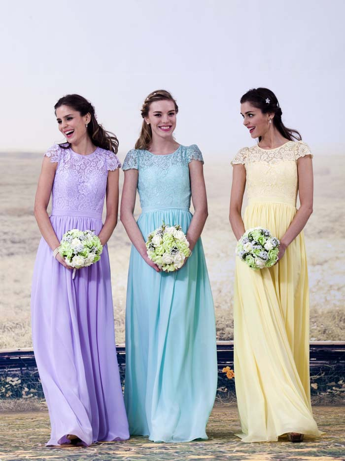 2017 vestido madrinha de casamento Pink Mint Green Blue Yellow Cap Sleeve Lace   Bridesmaid     Dress   Long Wedding Party   Dresses