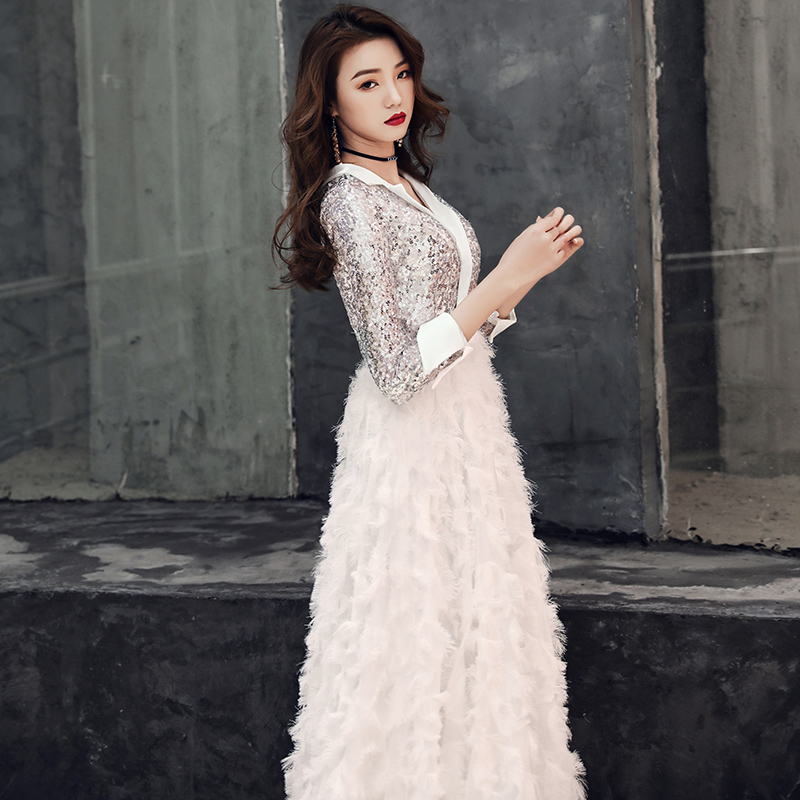 Image 4 - weiyin 2019 New V Neck Evening Dress The Banquet Elegant White 3/4 Sleeves Sequins Long Party Formal Gown WY1554 Robe De Soiree-in Evening Dresses from Weddings & Events