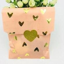 50pcs Candy Gift Favor Bag Blush Pink/Lalic and Foil Gold Heart Design Wedding Bridal Shower Baby Paper Treat Sticker