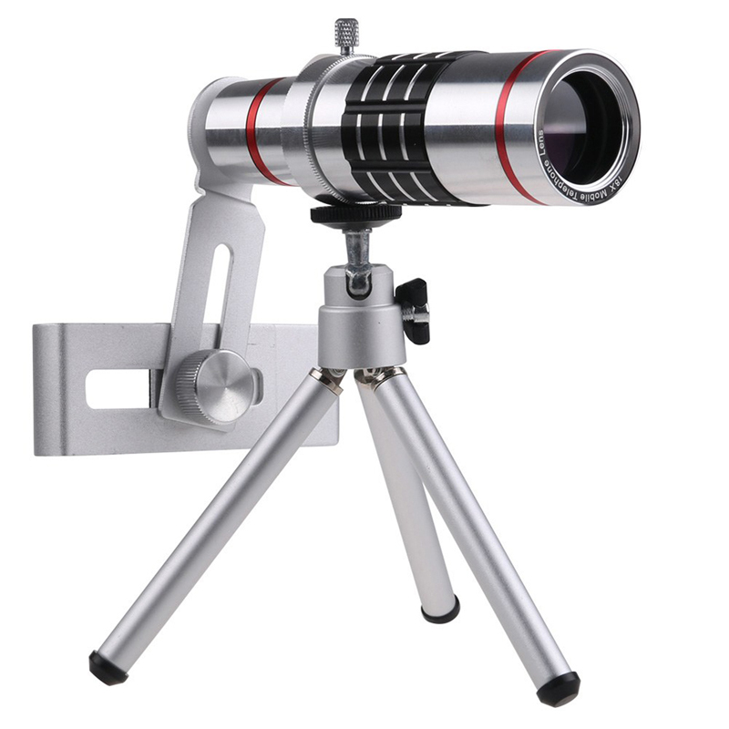 Universal 18x zoom lens Magnification Optical Camera Telephoto Lens Telescope With mini Tripod For Iphone Smartphone Silver 6