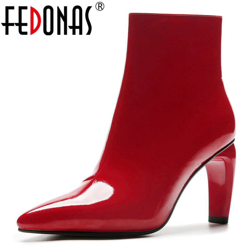 FEDONAS Fashion Brand Women High Heels Ankle Boots Pointed Toe Zipper Autumn Winter Martin Shoes Woman Party Wedding Pumps цена 2017