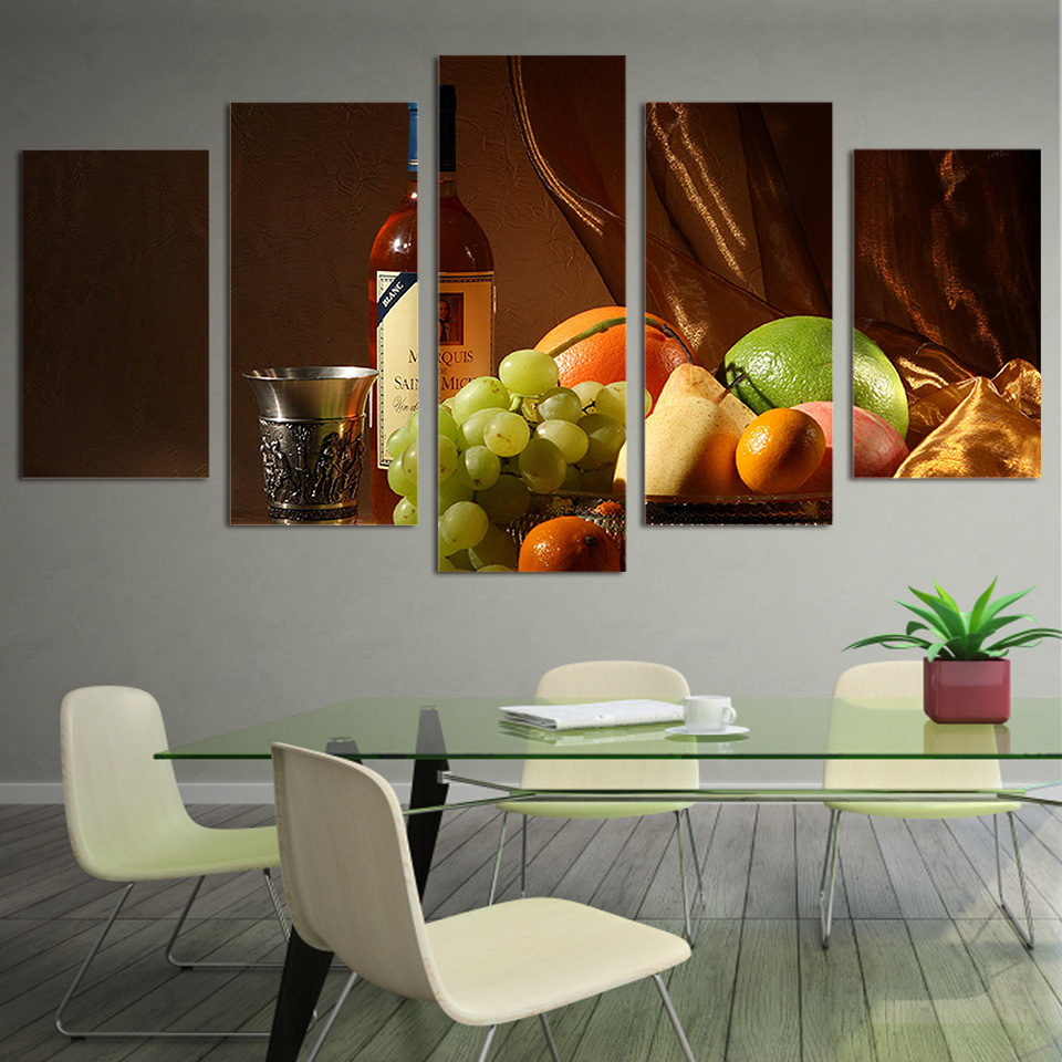 5 Panels Canvas Wall Art Paintings Wine Drink Fruit Classical Living Room Food Pictures Kitchen Print Picture In Painting Calligraphy From