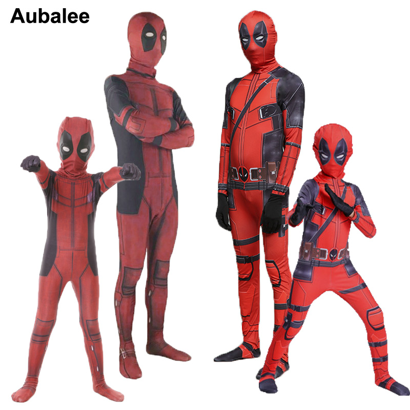 Adult Kids Deadpool Costume Cosplay Man Children Boys Halloween Party Carnival Superhero Zentai Suit Deadpool Spandex Bodysuit