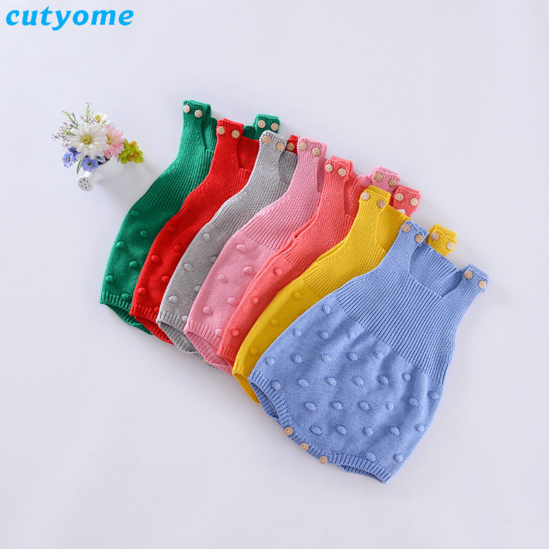 Knitting Newborn Baby Jumpsuits For Boys Girls Clothes Infant Sleeveless Overalls Christmas Cotton Boy Girl Rompers Clothing 5pcs lot baby bodysuits original infant jumpsuits autumn overalls cotton coveralls boy girls baby clothing set cartoon outerwear