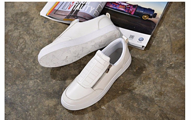 BODNSN Casual Men\'s Skate Shoes Zip Leather Flats 2016 New Solid Round Toe Men\'s Flat Shoes Breathable Fashion Man Shoes PX43 (2)