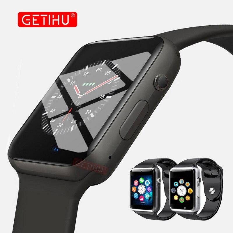 GETIHU reloj inteligente A1 Smartwatch para Apple iPhone Android Samsung Bluetooth Digital muñeca deporte reloj de teléfono de tarjeta SIM con cámara
