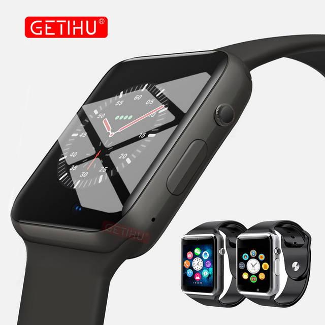 nueva llegada 48b24 08d92 GETIHU reloj inteligente A1 Smartwatch para Apple iPhone Android Samsung  Bluetooth Digital muñeca deporte reloj de teléfono de tarjeta SIM con cámara