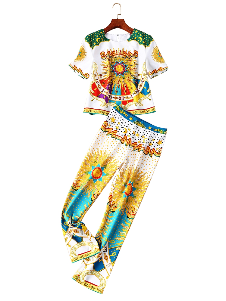 GoodliShowsi 2019 Summer Vintage Woman's Sets Print Short Sleeve T-Shirt Tops and Long Pants Two Piece Sets Size S-XL