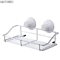 Stylish Metal Strong Suction Sucker Bathroom Toilets Kitchen Rectangle Storage Rack Basket Organizer Easy Install Strong