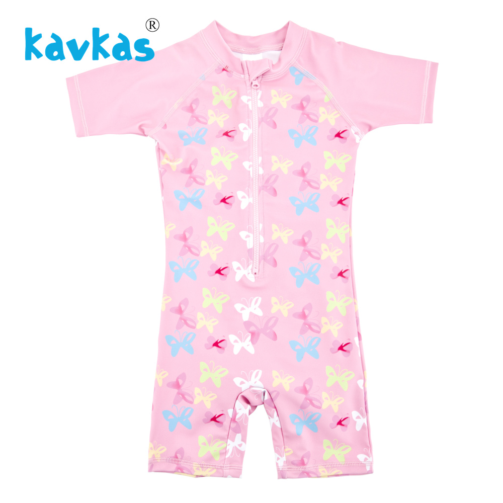 0efecd021bfad Kavkas Baby Girl One Piece Swimsuit Butterfly Printed Short Sleeve Rash  Guards Set Pink Color Bathing