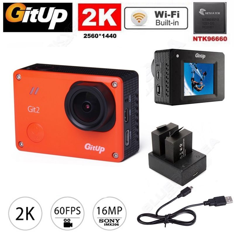 Free shipping Gitup Git2 Pro WiFi 2K Helemet Sports Camera Car Camera Dual Battery Charger Kit
