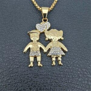 Image 4 - Colliers avec pendentifs pour couples amoureux en couleur dorée, à la mode, chaîne en acier inoxydable, pour garçons et filles, 2020