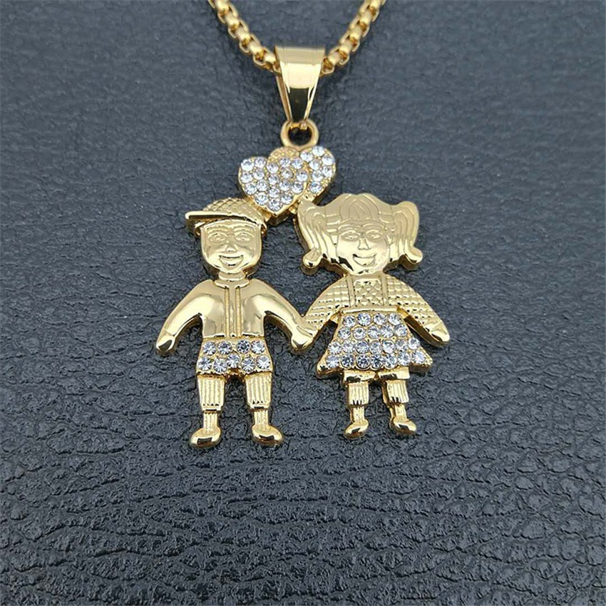 Image 4 - Gold Color Lovers Couple Pendant Necklaces Fashion 2018 Boys Girls Couple Necklaces Jewelry For Women Stainless Steel ChainPendant Necklaces   -