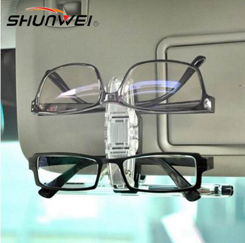 New Car Glasses Sunglasses Holder Visor Card Clip Model With Glasses Clip Auto To Hold 1 pen and 2 glasses