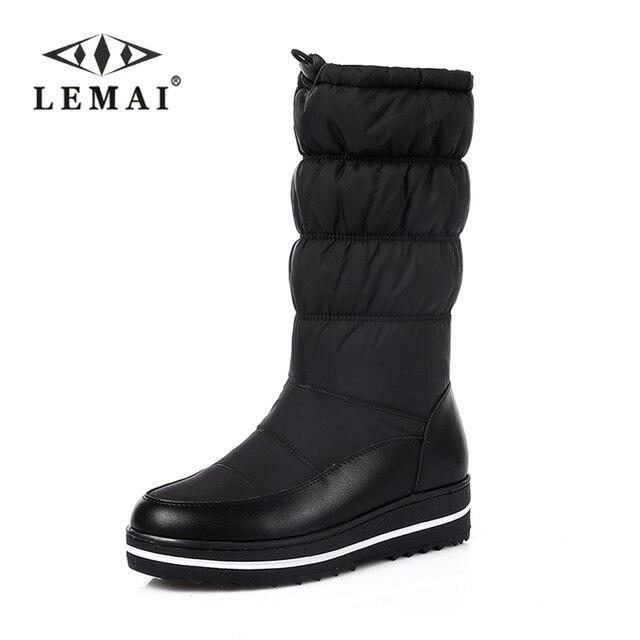 1de86586 Lemai 2018 nuevo cuero genuino de la nieve botas mujeres grueso piel  caliente abajo media pantorrilla invierno botas ronda toe plataforma  zapatos tamaño 35- ...