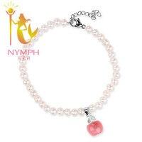 NINFA 100% natural de la perla pulsera para el tobillo tobilleras de moda 5mm natural opal con extender la cadena para las mujeres