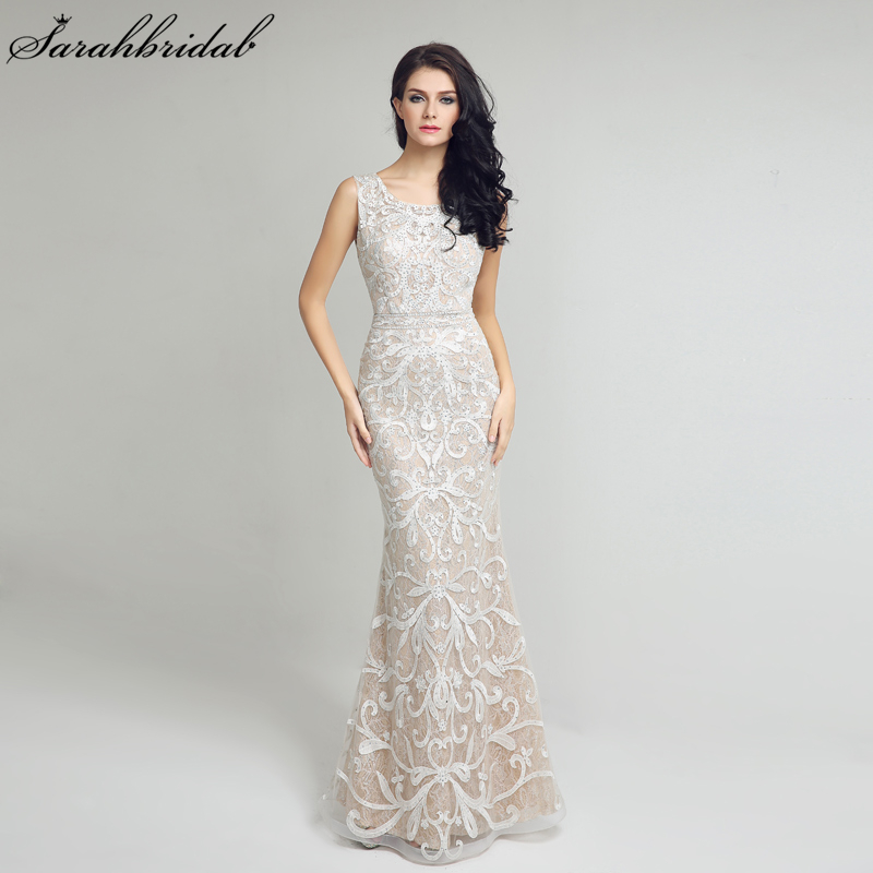 Elegant Lace Mermaid Long Evening Dresses Sexy Open Back Ivory Formal Evening Gowns Prom Dresses Robe
