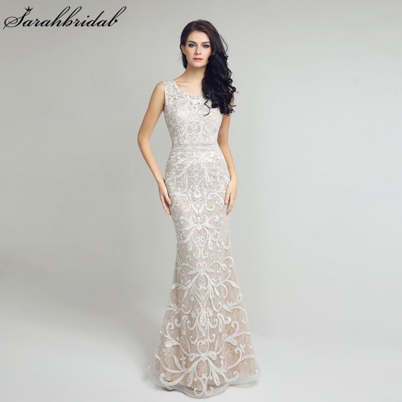 Élégante dentelle sirène longues robes De soirée Sexy dos ouvert ivoire robes De soirée formelles robes De bal Robe De soirée LSX212