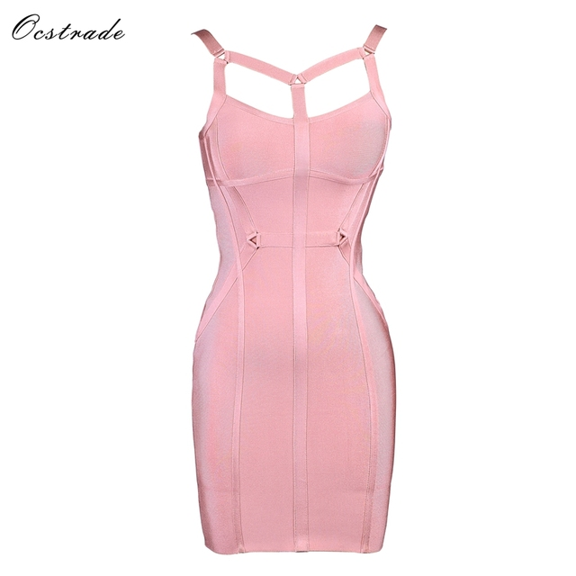 58305864ff Ocstrade Sexy Bandage Dress 2018 Party Mini Summer New Arrival Pink Women Sexy  Strap Rayon Bodycon Bandage Dress Club