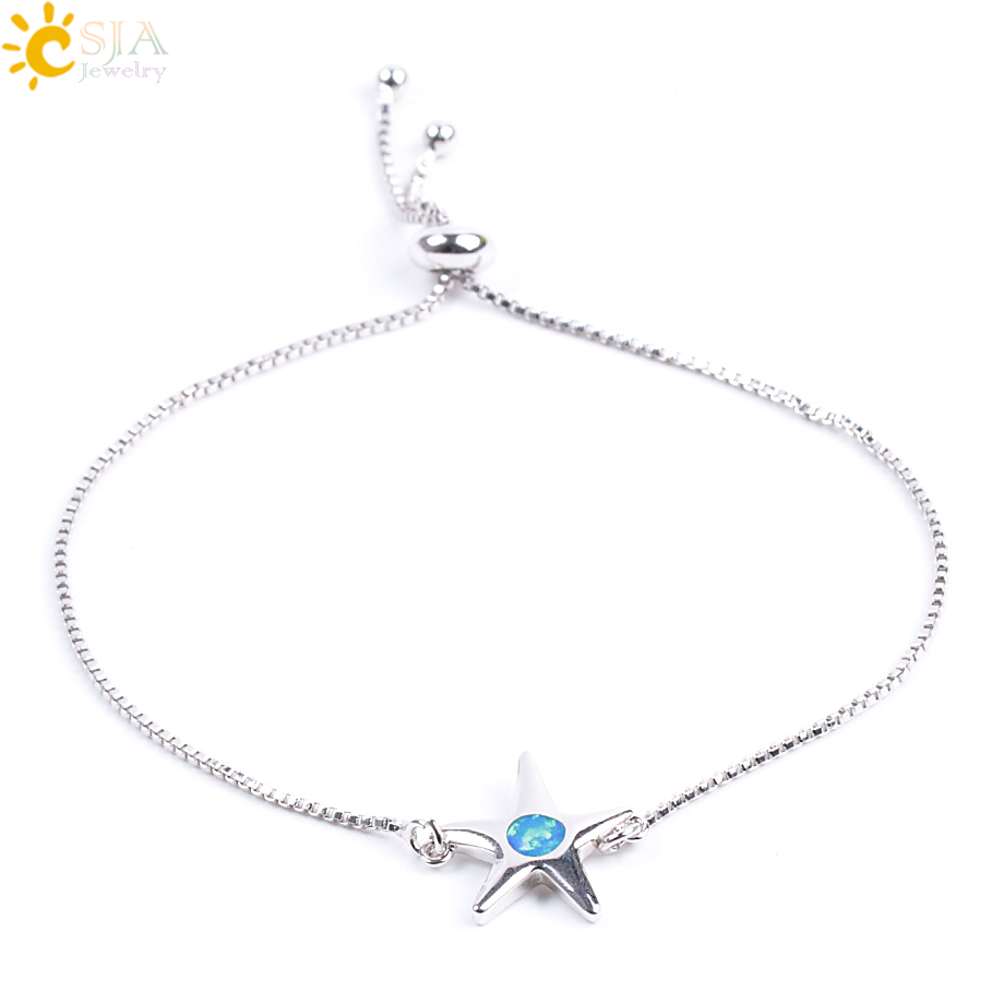 CSJA Blue Opal Stone Elegant Bracelets & Bangles for Office Lady 1mm Thickness Hand Cuff Chain Starfish Crab Charms Jewelry F076