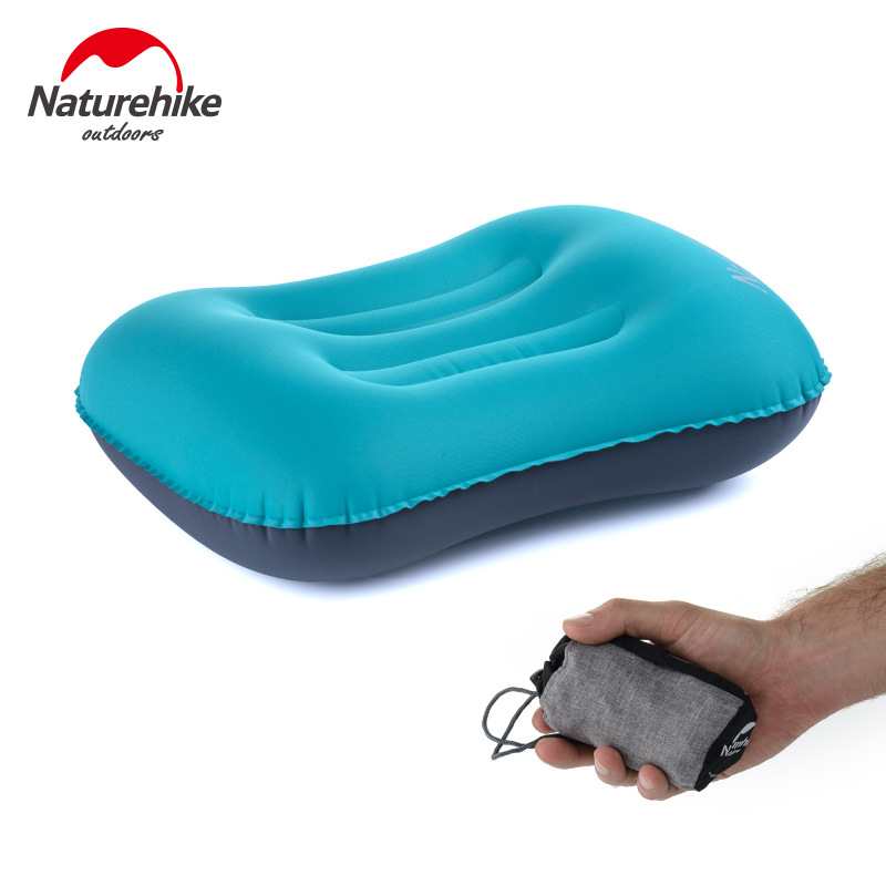 Naturehike Portable Outdoor Inflatable Bantal Sleeping Gear Travel Eros Bantal Inflatable Cushion Leher lembut Perlindungan HeadRest