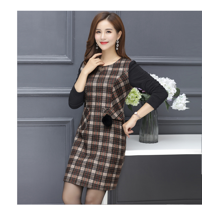 Winter Woman Elegant Tweed Dress Red Yellow Plaid Pattern Blends Robe Femme Thicken Fleece Dresses Woman Warm Shift Dress Office Outfits (14)
