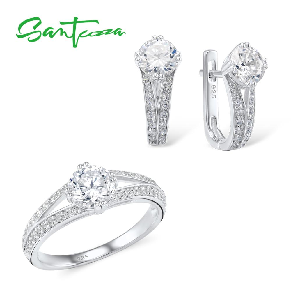 Santuzza Jewelry Sets For Women White Cubic Zirconia Jewelry Set Ring Earrings Pure 925 Sterling Silver
