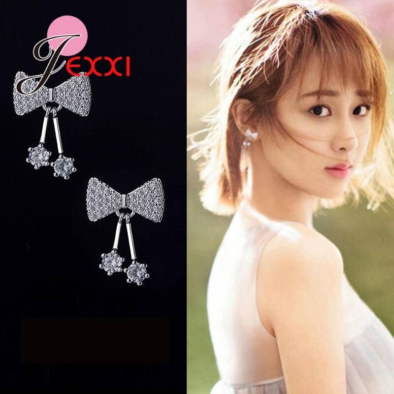 JEXXI Elegant Classic Design 925 Sterling Sliver Butterfly Shape Earrings Clear Cubic Zircon Women Dance Party Accessaries