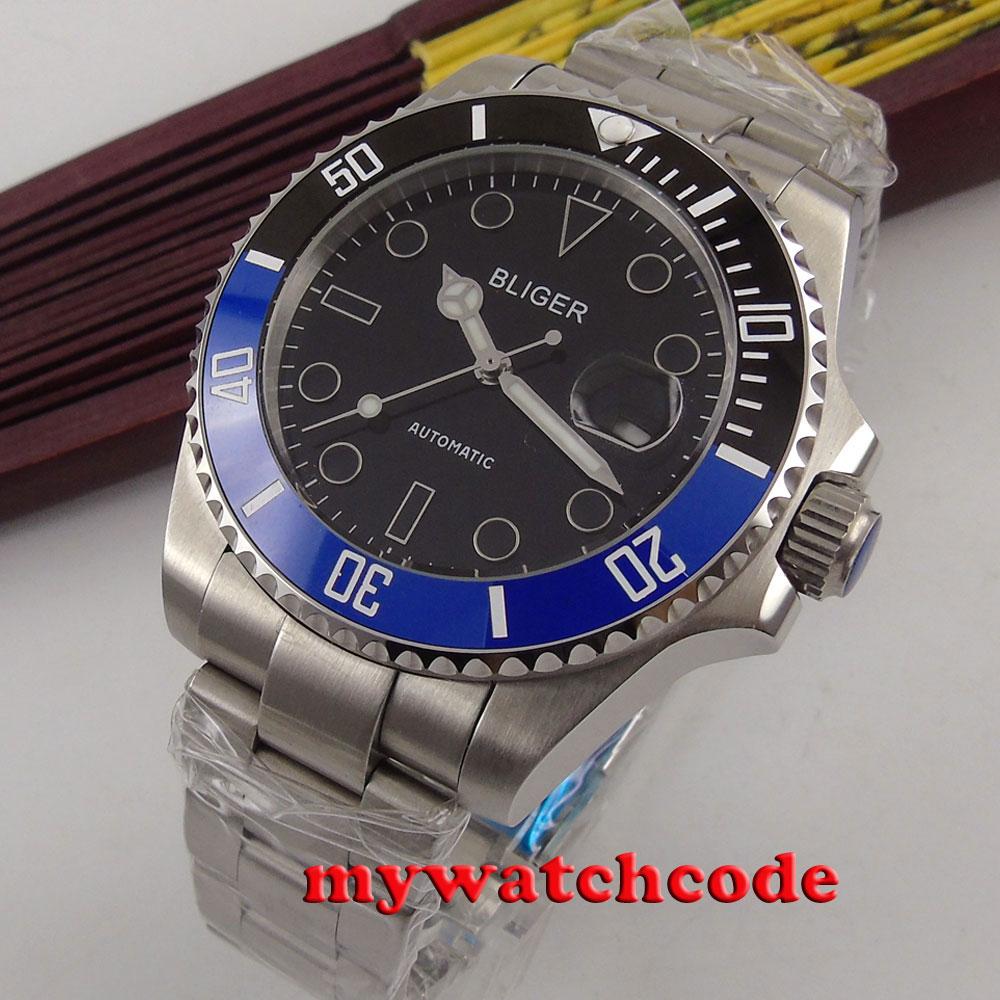 43mm bliger black dial date Ceramic Bezel sapphire glass automatic mens watch298 цена и фото