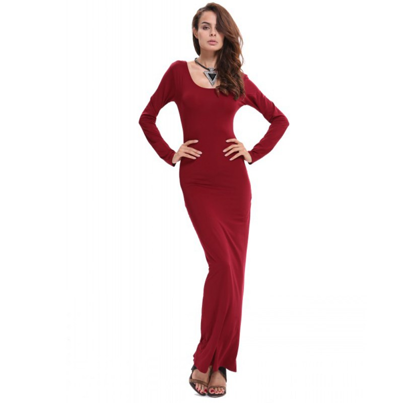 Women Stretch Bodycon Slim Long Dress Long Sleeve Casual Maxi Dress