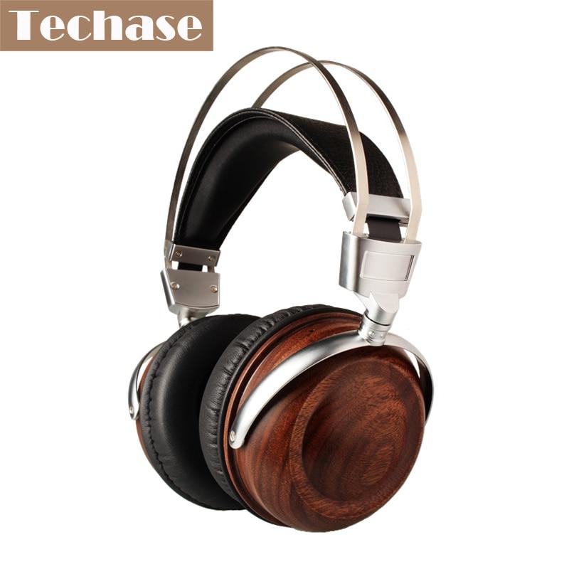 Фотография Techase Luxury Headband Earphone HiFi Auriculares Subwoofer Wooden Gaming Headset Bass Music Sports Fone De Ouvido PK Bluedio