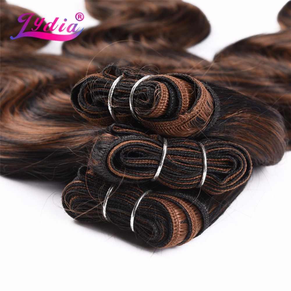 """Lydia Body Wave Haarverlenging Yaki Lichaam 16 """"-26"""" inslag Haar Ombre Kleur 1 Bundel Synthetisch Haar Weave Voor Vrouwen Haar Bundels"""